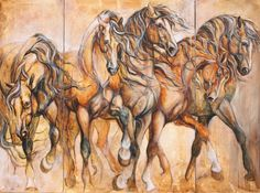 Beautiful work by a Quebec artist who favors Iberian horses. I love her work!