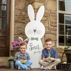 Bring your Easter decorating outdoors with our Huge Bunny Porch Sign. This gigantic bunny will surely make a statement. decorating outdoor Easter Carrots Fun Snack Idea for Kids ~ Easter Snack - A Thrifty Mom - Recipes, Crafts, DIY and mor Diy Christmas Decorations, Easter Outside Decorations, Easter Projects, Easter Crafts, Easter Ideas, Craft Projects, Porch Signs, Spring Crafts, Crafts To Sell