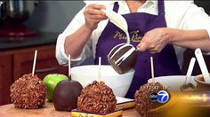 Prindable's with the Hungry Hound/Chocolate covered apples. Blue Candy Apples, Gourmet Caramel Apples, Mrs Prindables Apples, Apple Recipes, Sweet Recipes, Abc7 News, Pink Candy Buffet, Chocolate Covered Apples, Dessert Recipes