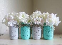 Baby Teal and Gray Distressed Mason Jars. Baby Shower Mason Jars. Shabby and…