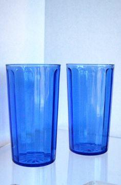 Vintage Hazel Atlas Juice Glasses Cobalt 1950s