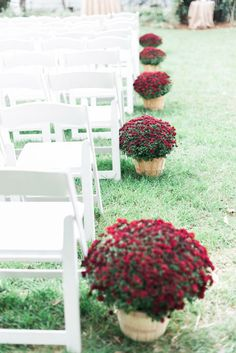 Fall Wedding DIY wedding Ideas - Red and Maroon Mums as ceremony aisle decors at an outdoor wedding in Cary NC | J Parker Photography  | via @SthrnBrideGroom SouthernBrideandGroom.com