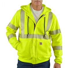 3f9125f88986 Men s Carhartt Flame-Resistant Heavyweight High-Visibility Class 3 Hooded  Zip-Front Sweatshirt - Flame Resistant - Hi-Vis