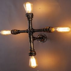 54.57$  Watch now - http://alifsy.shopchina.info/go.php?t=32794507957 - 4 Heads Industrial Steampunk Wall Mounted E26/E27 Light Cross Water Pipe Metal Retro Wall Lamp Sconce Indoors Lighting Fixture  #aliexpress