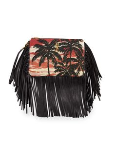 Mixed-media Fringe Charm For Handbag, Black Multi