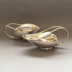 Gallery 925 - Very rare Mid Century Svend Weihrauch, Frantz Hingelberg Sterling Silver  Creamer & Sugar with beautiful asymmetrical forms and elegant loop handles.