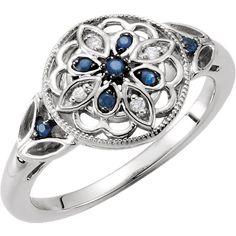 Sterling Silver Sapphire & .03 CTW Diamond Ring