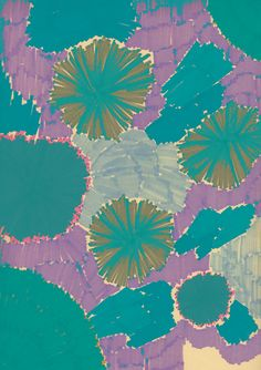 Teal | Blue-green | purple | painting, abstract art | blooming flowers in teal and lavender