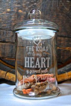 Glass Etched Large Dog or Cat Treat Jar with Saying The Road to My Heart is Paved...., Sandblasted Sand Carved Glass Art Glass Etching - pinned by pin4etsy.com