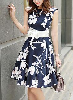 Blue Floral Belt Bow Sleeveless Sweet Mid i Dress Casual Dresses, Short Dresses, Fashion Dresses, Girls Dresses, Summer Dresses, Dress Outfits, Casual Outfits, Pretty Dresses, Beautiful Dresses