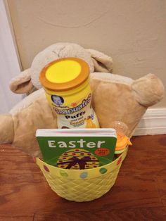 Baby easter basket idea for our 7 month old granddaughter comes baby easter basket idea for our 7 month old granddaughter comes with baby food easter books training toothpaste and toothbrush and woofi the m negle Image collections