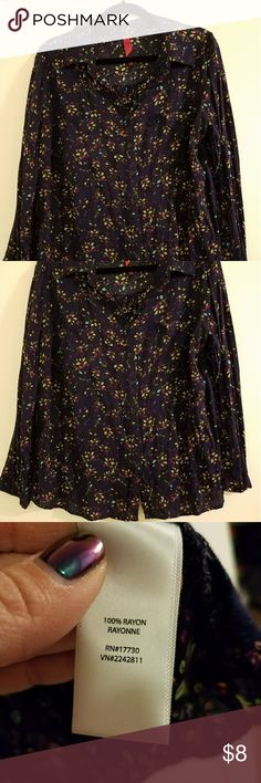 Navy Pure Energy Button Down Top - Plus Size 1 Navy Blue button down long sleeved top with orange/green/purple/pink/white leafy design. Only worn twice, no damage. Has pocket on left and right chest of blouse. Button at bottom of sleeve Pure Energy Tops Button Down Shirts