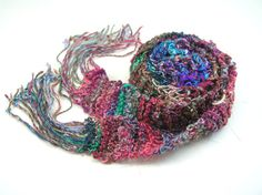 Handknit Skinny Scarf with Beaded Fringe by TheSavvyStitch on Etsy