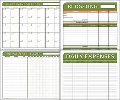 Budget and Bill Management Set - Editable Financial Organizing Printables - 4 Worksheets