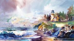 """North Oregon Shore"" Lighthouse Watercolor Painting by Michael David Sorensen"