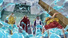 ONE PIECE, Monkey D. Luffy vs. 3 Admirals: Aokiji, Akainu, and Kizaru in Marineford War