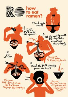 RO: How to eat ramen? - RO: How to eat ramen? on Behance Effektive Bilder, die wir über decorating ideas for the home anb - Food Graphic Design, Food Poster Design, Japanese Graphic Design, Poster Design Inspiration, Cute Illustration, Graphic Design Illustration, Visual Thinking, Illustrations Posters, Infographic Illustrations