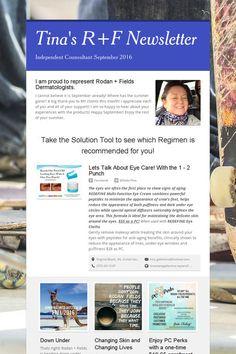 4eebcb6c333 Tina's R+F Newsletter Newsletter Sample, Newsletter Templates, Rodan And  Fields, Skincare