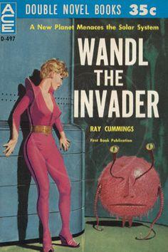 Sci fi Wandl the Invader - Giclée Canvas Print of Vintage Pulp Science Fiction Paperback Pulp Fiction Art, Science Fiction Books, Fiction Novels, Pulp Art, Ace Books, Sci Fi Books, Arte Sci Fi, Sci Fi Art, Heroine Marvel