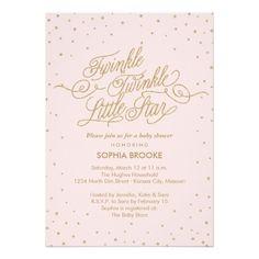 Twinkle Little Star Fancy Gold & Pink Baby Shower 13 Cm X 18 Cm Invitation Card