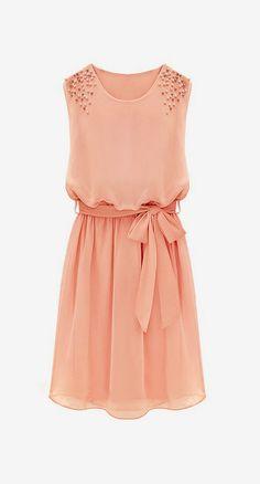 Pink Sleeveless Bead Belt Chiffon Sundress Roztomilé Šaty 1cbd0c4c7b5