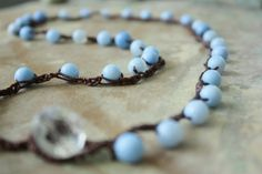Blue Agate Crocheted Necklace by LivO on Etsy, $35.00