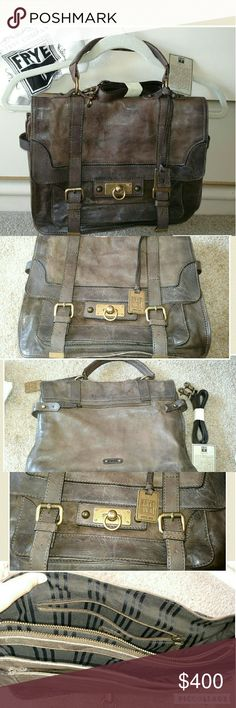FRYE cameron large leather satchel purse Used very few times and in excellent condition. Aside normal leather variations I don't see any flaws. Kept in really great shape and very clean. Comes with detachable shoulder strap which is still in wrapping.  Kind of a grey/brown color. Multiple pockets on inside.   ?? ships in 1 day Reasonable offers &?welcome Clean smoke free home  No trades Frye Bags Satchels