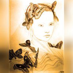 Gemma Ward and butterflies.