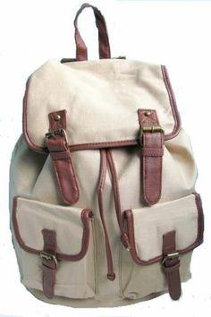 Primark Womens Ladies Backpack Rucksack Girl College School Travel Gym Bag Beige