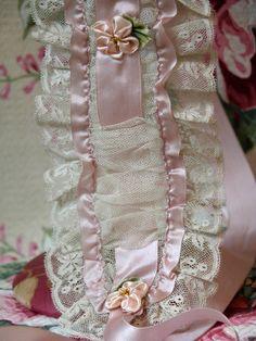 Vintage 1920s Silk ROSETTE Lace Flapper Bandeau Headband