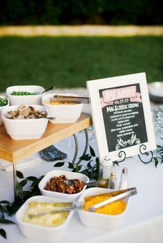 16 DIY Food and Drink Stations for Your Next Party via @mydomaineA pot of premade macaroni pasta (still piping hot!), a variety of toppings (sautéed mushrooms, green peas, fried onions, bacon bits, green onions), soft cheddars, white truffle oil, salt, and pepper.