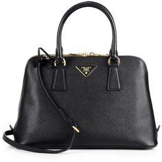 Prada Saffiano Lux Small Promenade ($2,200) ❤ liked on Polyvore featuring bags, accessories, bolsa, sac, apparel & accessories, leather bags, genuine leather bag, real leather bags, prada and logo bags