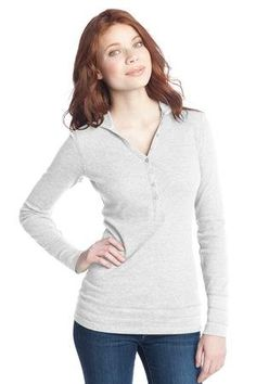 Junior Ladies Long Sleeve Thermal Henley Hoodie $15.99