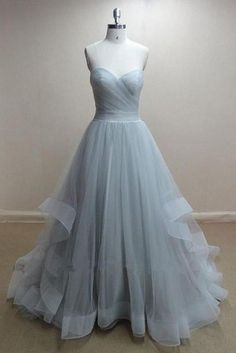 a634cb7ff79 Handmade Grey Tulle Ball Gown Prom Dresses 2015