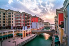 Sunset in Qanat Quartier the Venitian inspired Residential District in Qatar's man made island The Pearl Qatar.