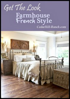 get the farmhouse french look, bedroom ideas, home decor, Homemade Linen bedding in soothing neutral sets the tone for the room French Master Bedroom, French Country Bedrooms, French Country House, Country Blue, Master Suite, French Farmhouse Decor, French Decor, French Country Decorating, Vintage Farmhouse