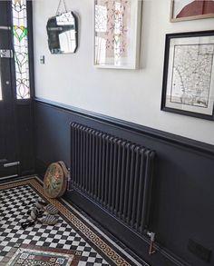 Homedecorrustic two tone walls, dark hallway, hallway paint, tiled hallway, Hallway Paint, Tiled Hallway, Hallway Flooring, Dark Hallway, Dado Rail Hallway, Victorian Hallway Tiles, Tile Flooring, Edwardian Hallway, Victorian Stairs