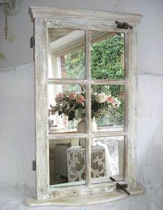 old Window mirror Window Mirror, Window Art, Window Frames, Floor Mirrors, Faux Window, Window Ideas, Repurposed Furniture, Diy Furniture, Furniture Design