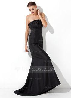 Evening Dresses - $115.99 - Trumpet/Mermaid Scalloped Neck Sweep Train Taffeta Evening Dress With Ruffle (017021133) http://jjshouse.com/Trumpet-Mermaid-Scalloped-Neck-Sweep-Train-Taffeta-Evening-Dress-With-Ruffle-017021133-g21133