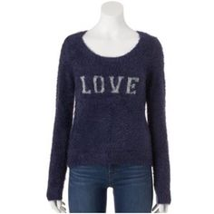 """LAST‼️ LAUREN CONRAD Blue Soft Fuzzy Sweater 🎉HP🎉NWT LC Lauren Conrad navy blue fuzzy sweater with """"LOVE"""" lurex graphic is sure to turn heads while keeping you cozy! FEATURES: Slightly cropped length, scoop neck, long sleeves, ribbed trim.  *Nylon/cotton/acrylic, hand wash *S (4-6) *Bundle Discounts, Smoke-Free, No Trades LC Lauren Conrad Sweaters Crew & Scoop Necks"""