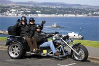 Isle of Man Trike Tours. Your chance to enjoy a unique chauffeur driven tour around the Isle of Man aboard a three wheeled motorbike!