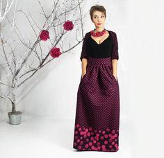 Maxi Skirt, Long Skirt, Floor Length skirt, Polka dots Full Skirt, Winter Maxi skirt, Wool skirt, Long skirt with pockets