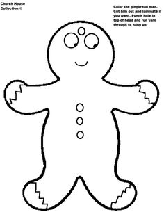 Gingerbread Man Outline Holidays Christmas Activities Crafts