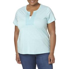 Basic Editions Plus Size Women's Plus Embellished Short-Sleeve Top, Size: 4XL, Shell Pink