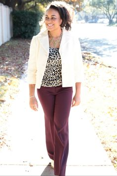 Preppy | Burgundy Pants | Leopard Print Shirt | Boucle Jacket | Classy Lady