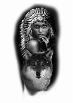 Native Tattoos, Wolf Tattoos, Body Art Tattoos, Girl Tattoos, Sleeve Tattoos, Tattoos For Guys, Tattoo Ink, American Indian Girl, Native American Girls