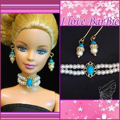 barbie doll jewelry set barbie rhinestone necklace and earring