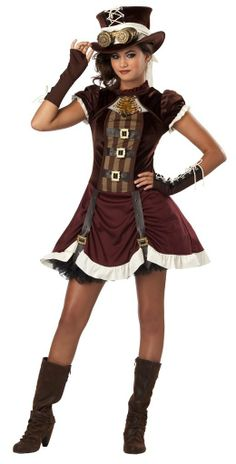 Amazon.com: Gothic Steampunk Girl Tween Halloween Costume: Clothing