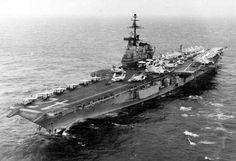 USS Franklin D Roosevelt (CVA-42) at sea some time between 1969 and 1976.