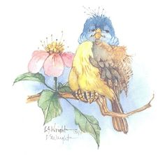 "This 5"" x 5"" lithograph is based on a watercolor by Carolyn Shores Wright, and is one of many birds she has painted over the years. The print is signed by the artist."